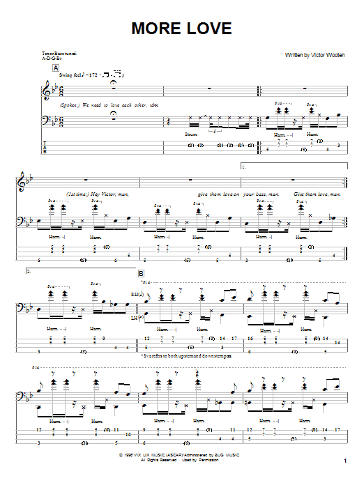 Tablature guitare More Love de Victor Wooten - Tablature Basse