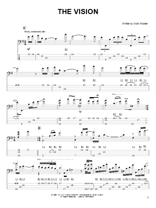 Tablature guitare The Vision de Victor Wooten - Tablature Basse