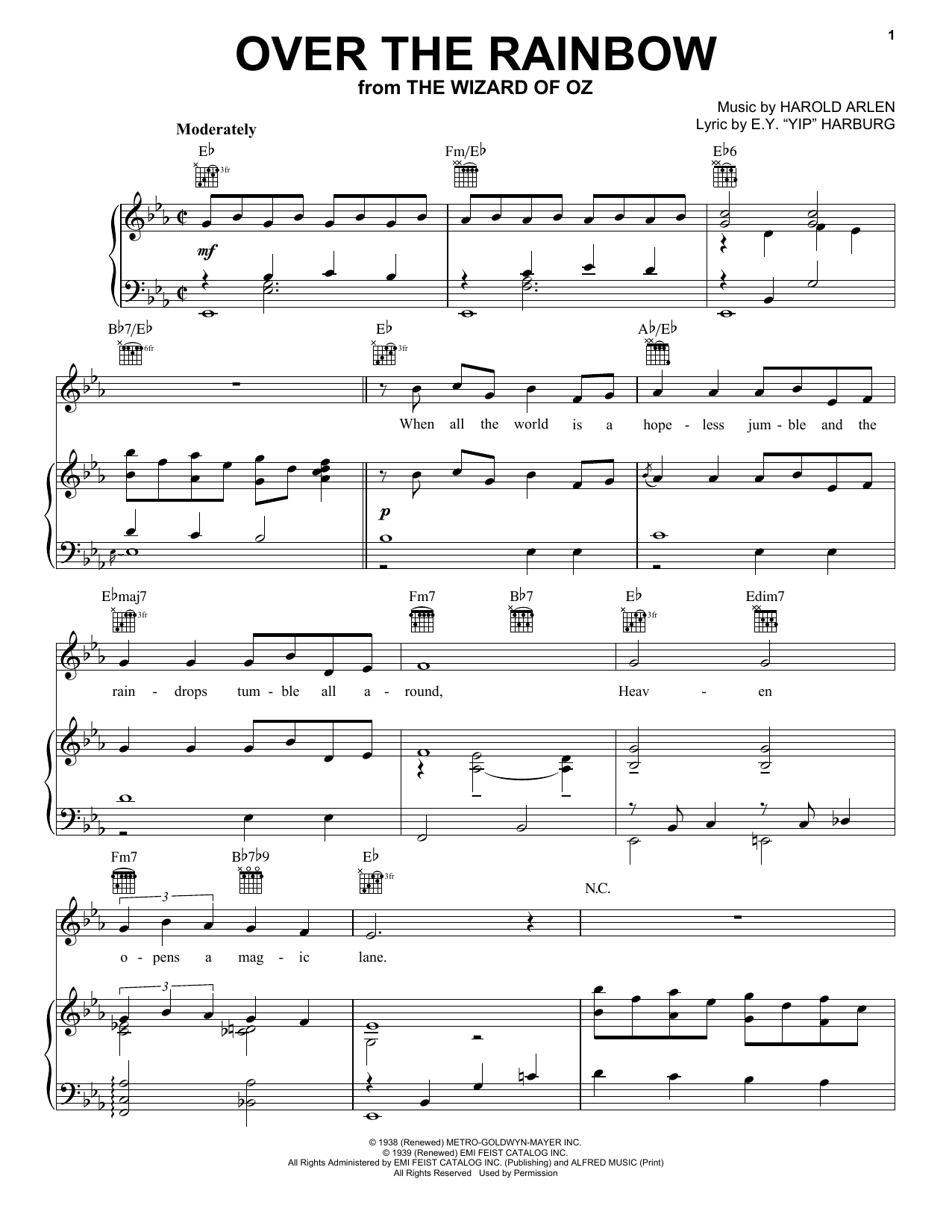 Over the rainbow sheet music direct sheet preview hexwebz Image collections