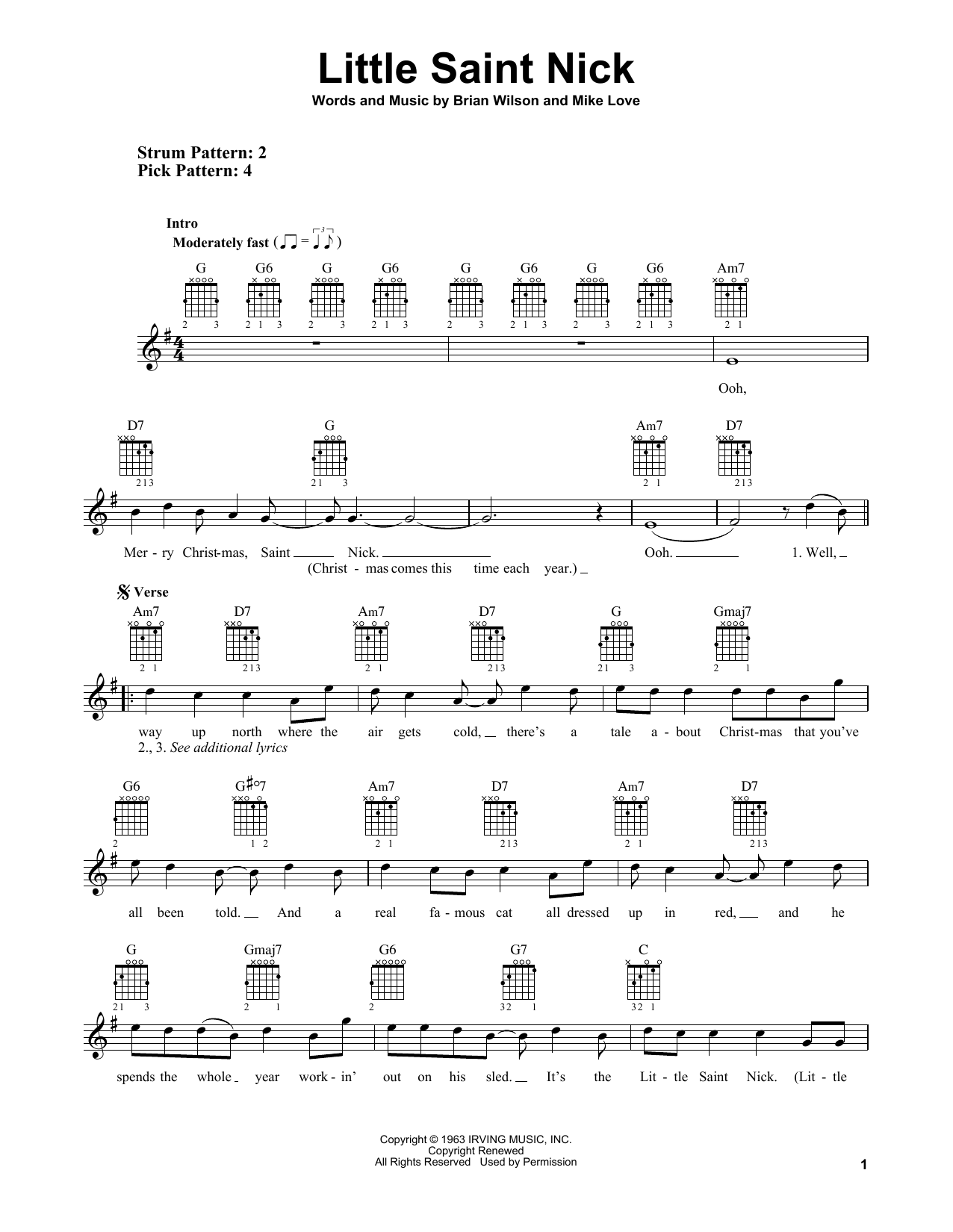 Tablature guitare Little Saint Nick de The Beach Boys - Tablature guitare facile