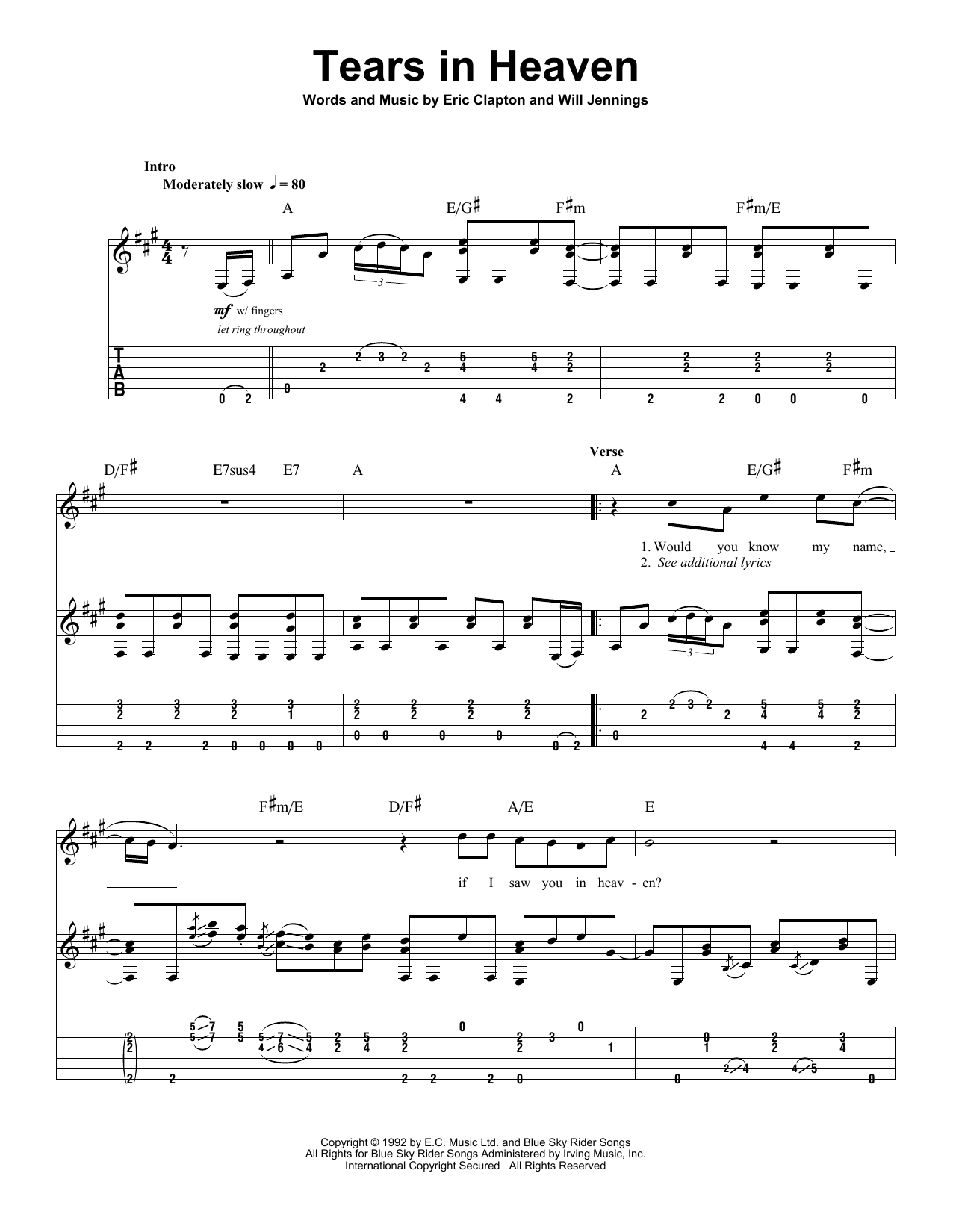 Tears In Heaven sheet music by Eric Clapton (Guitar Tab Play-Along u2013 27712)