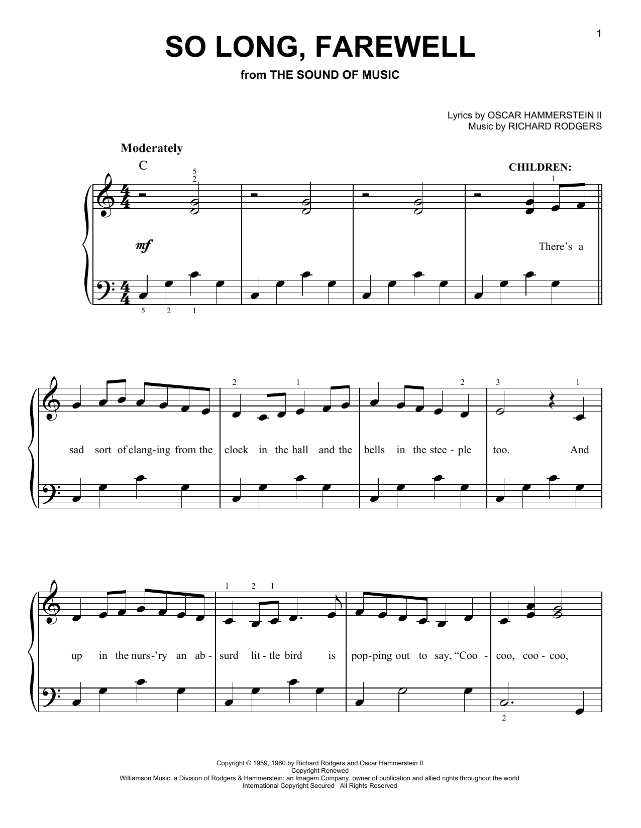 Partition piano So Long, Farewell (from The Sound Of Music) de Rodgers & Hammerstein - Piano Facile