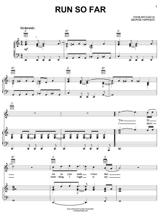 Run So Far (Piano, Vocal & Guitar (Right-Hand Melody))