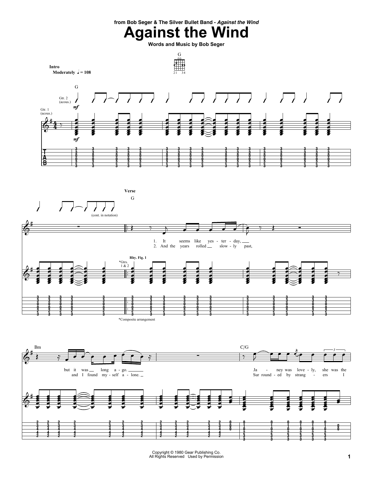 Tablature guitare Against The Wind de Bob Seger - Tablature Guitare