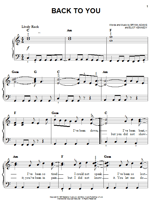 Back To You Sheet Music