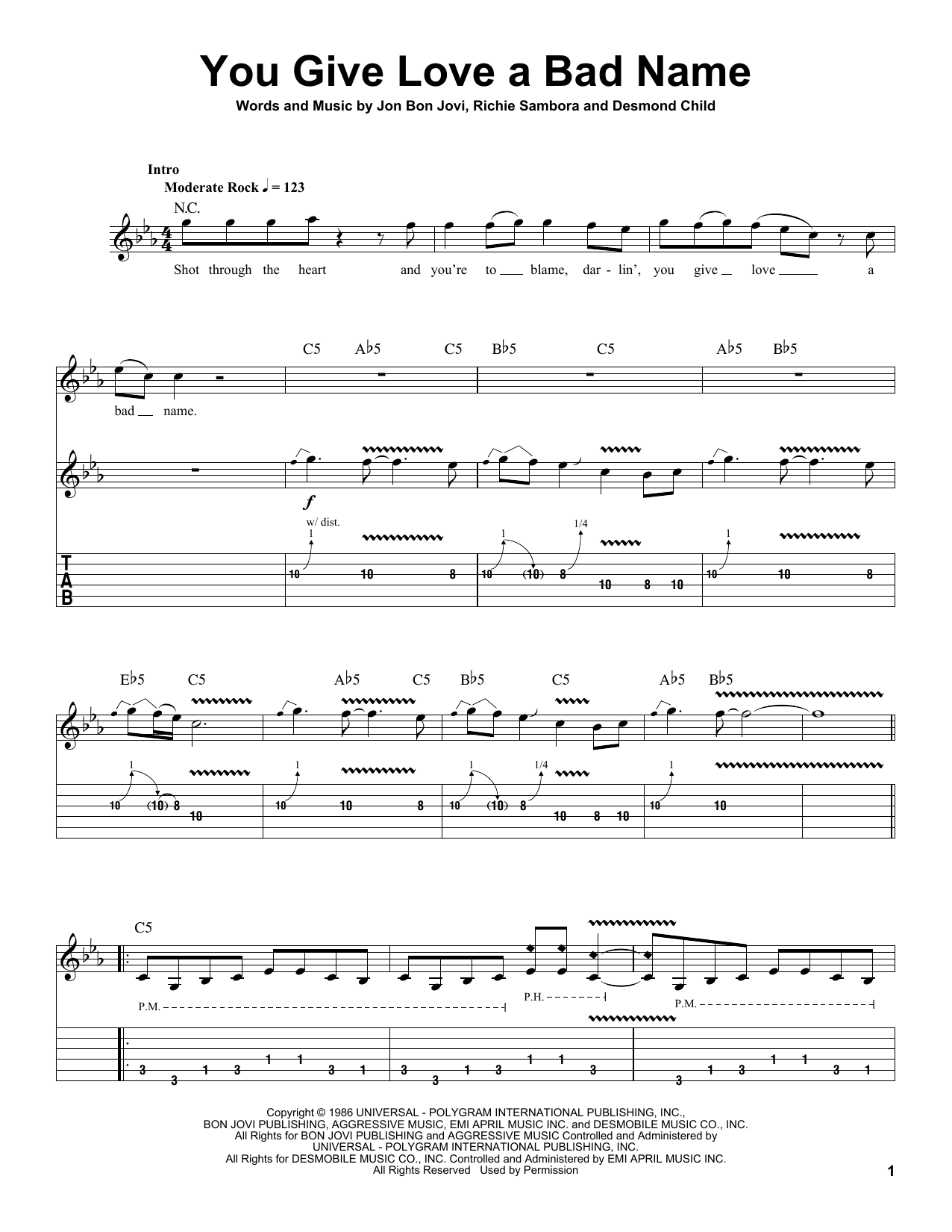 Tablature guitare You Give Love A Bad Name de Bon Jovi - Autre