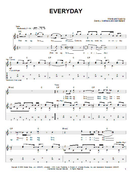 Tablature guitare Everyday de Dave Matthews Band - Tablature guitare facile