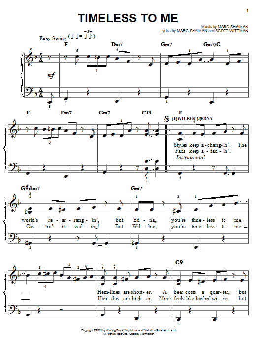 Timeless To Me (from Hairspray) Sheet Music