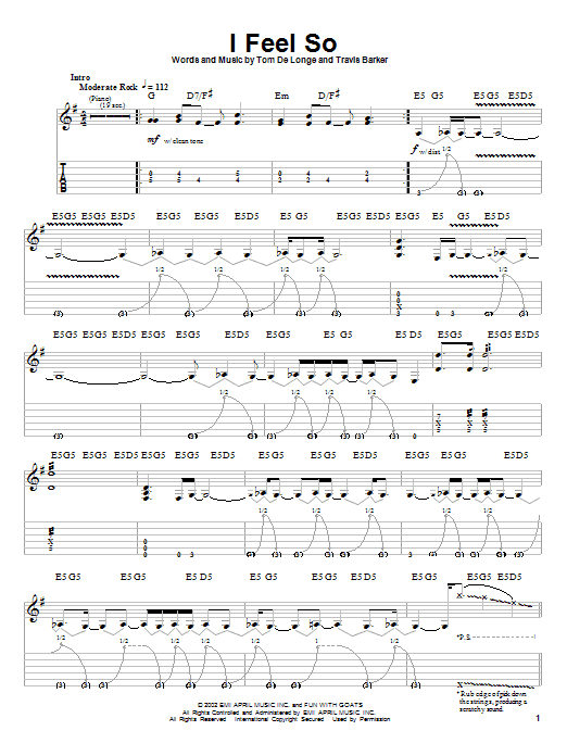Tablature guitare I Feel So de Box Car Racer - Autre