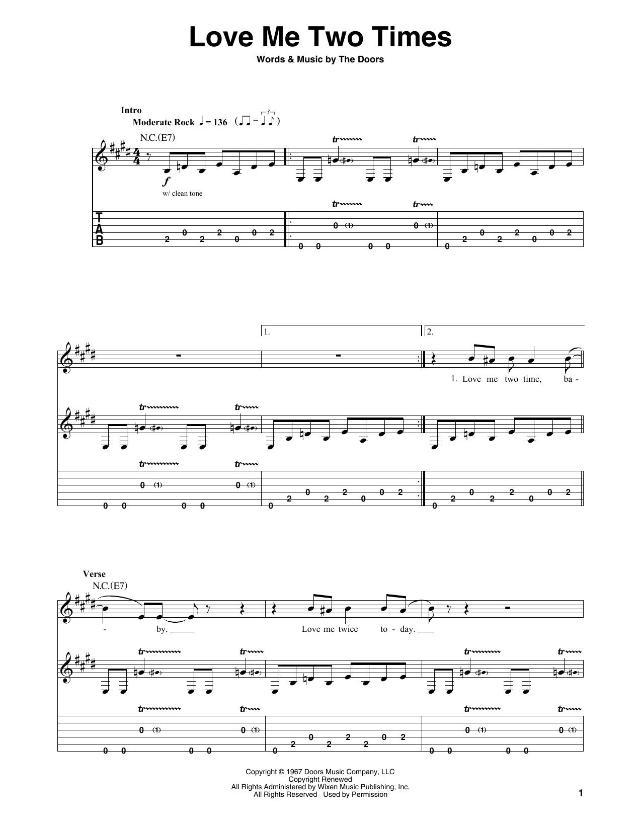 Love Me Two Times (Guitar Tab (Single Guitar))