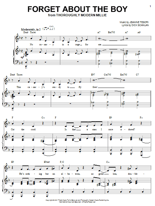 Forget About The Boy (from Thoroughly Modern Millie) Sheet Music