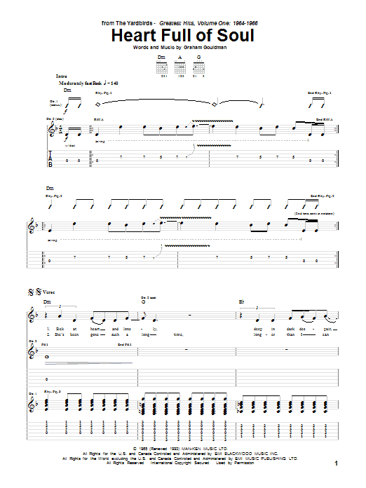 Tablature guitare Heart Full Of Soul de The Yardbirds - Tablature Guitare