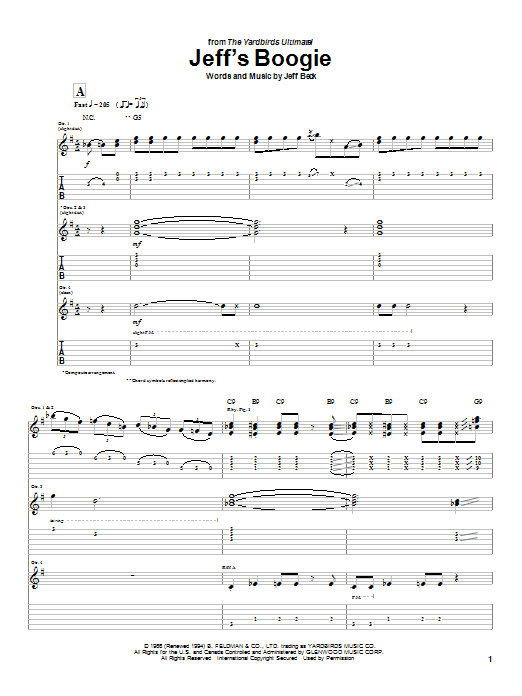 Tablature guitare Jeff's Boogie de Jeff Beck - Tablature Guitare