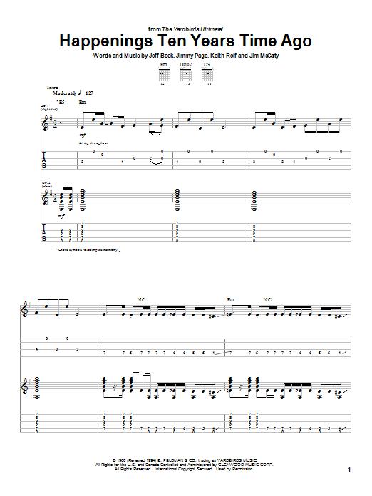 Tablature guitare Happenings Ten Years Time Ago de The Yardbirds - Tablature Guitare
