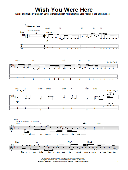 Guitar guitar tabs wish you were here : Wish You Were Here Bass Guitar Tab by Incubus (Bass Guitar Tab ...
