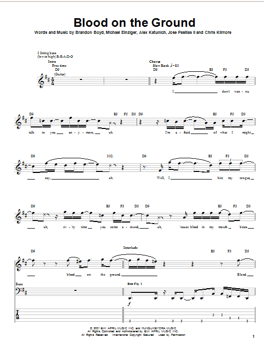 Tablature guitare Blood On The Ground de Incubus - Tablature Basse