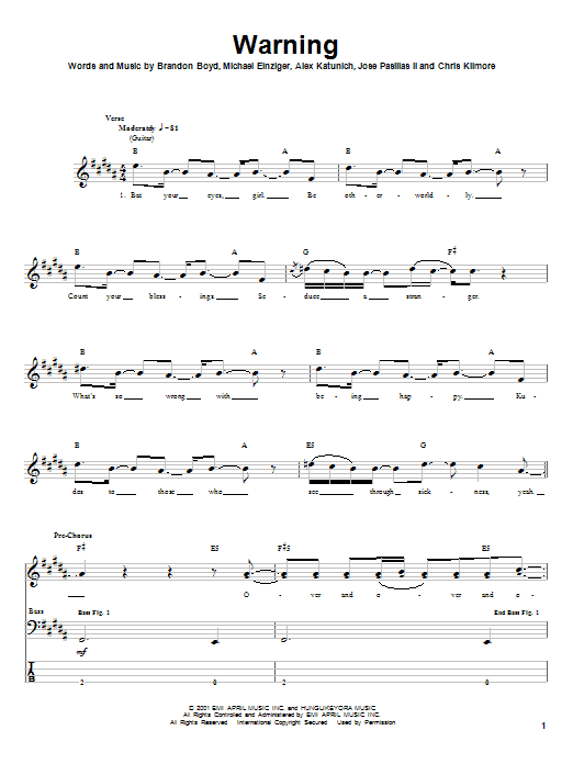 Tablature guitare Warning de Incubus - Tablature Basse
