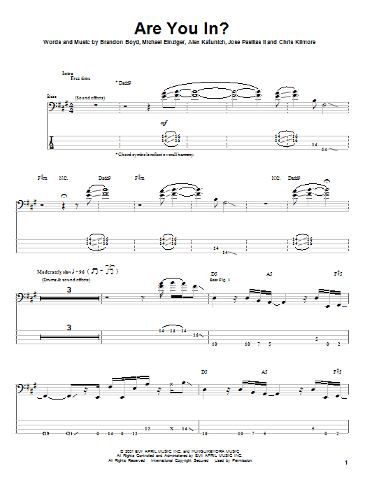 Are You In? (Bass Guitar Tab)