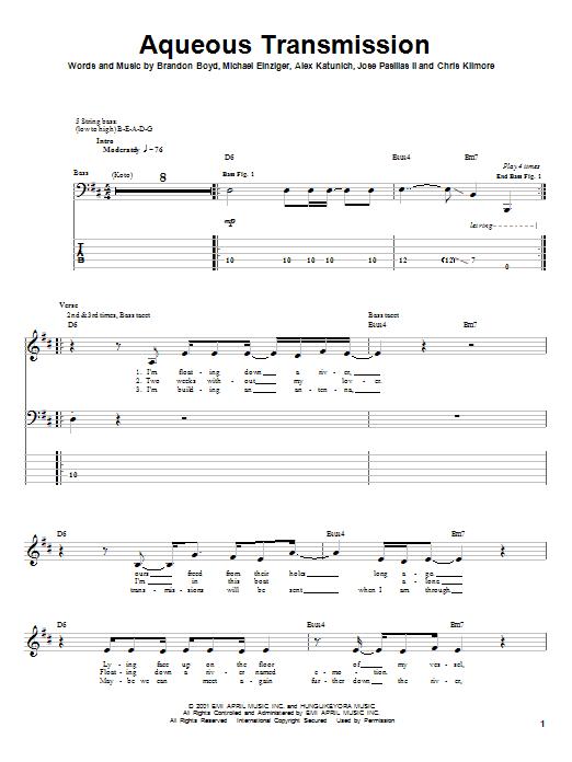 Tablature guitare Aqueous Transmission de Incubus - Tablature Basse