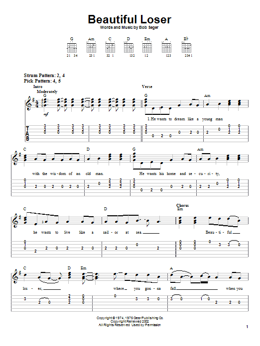 Beautiful Loser (Easy Guitar Tab)