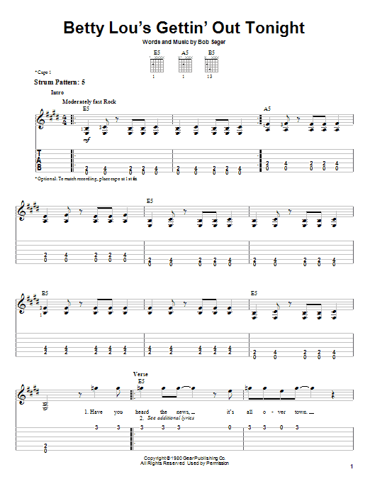 Betty Lou's Gettin' Out Tonight (Easy Guitar Tab)