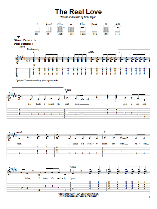 The Real Love (Easy Guitar Tab)