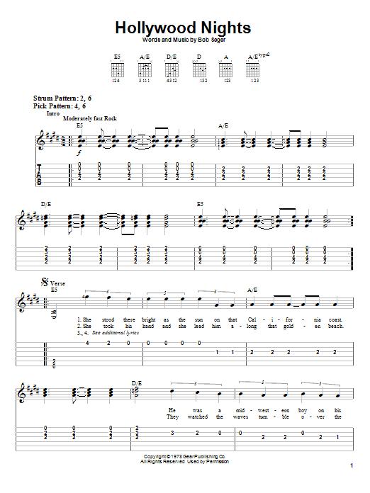 Hollywood Nights (Easy Guitar Tab)