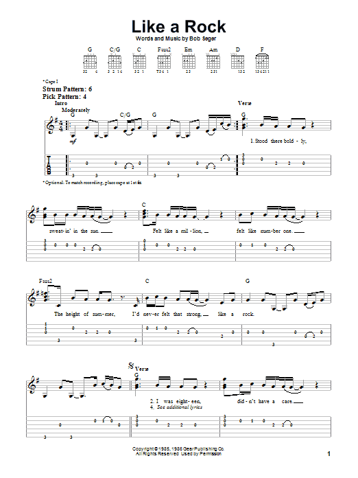 Like A Rock (Easy Guitar Tab)