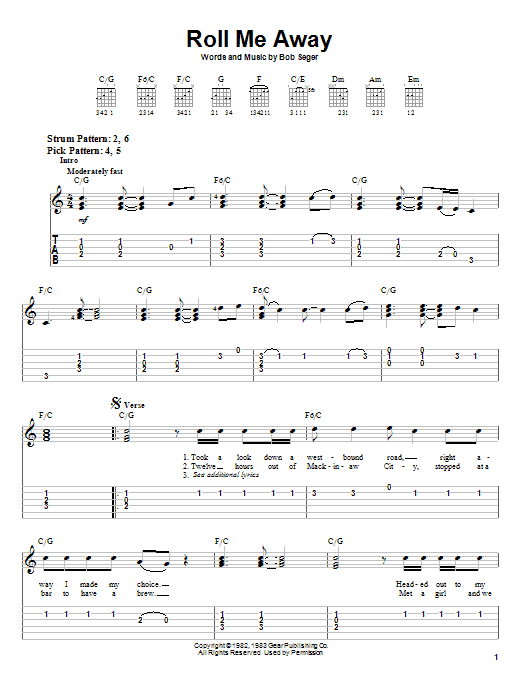 Roll Me Away (Easy Guitar Tab)