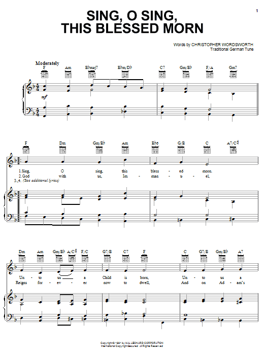Sing, O Sing, This Blessed Morn Sheet Music