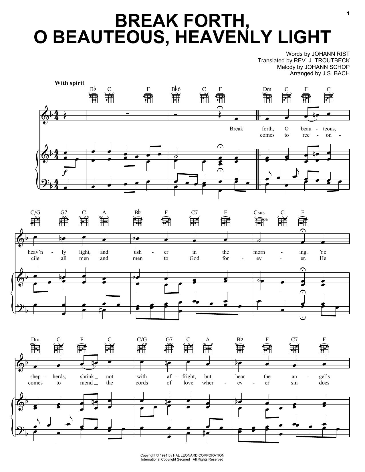 Break Forth, O Beauteous, Heavenly Light Sheet Music