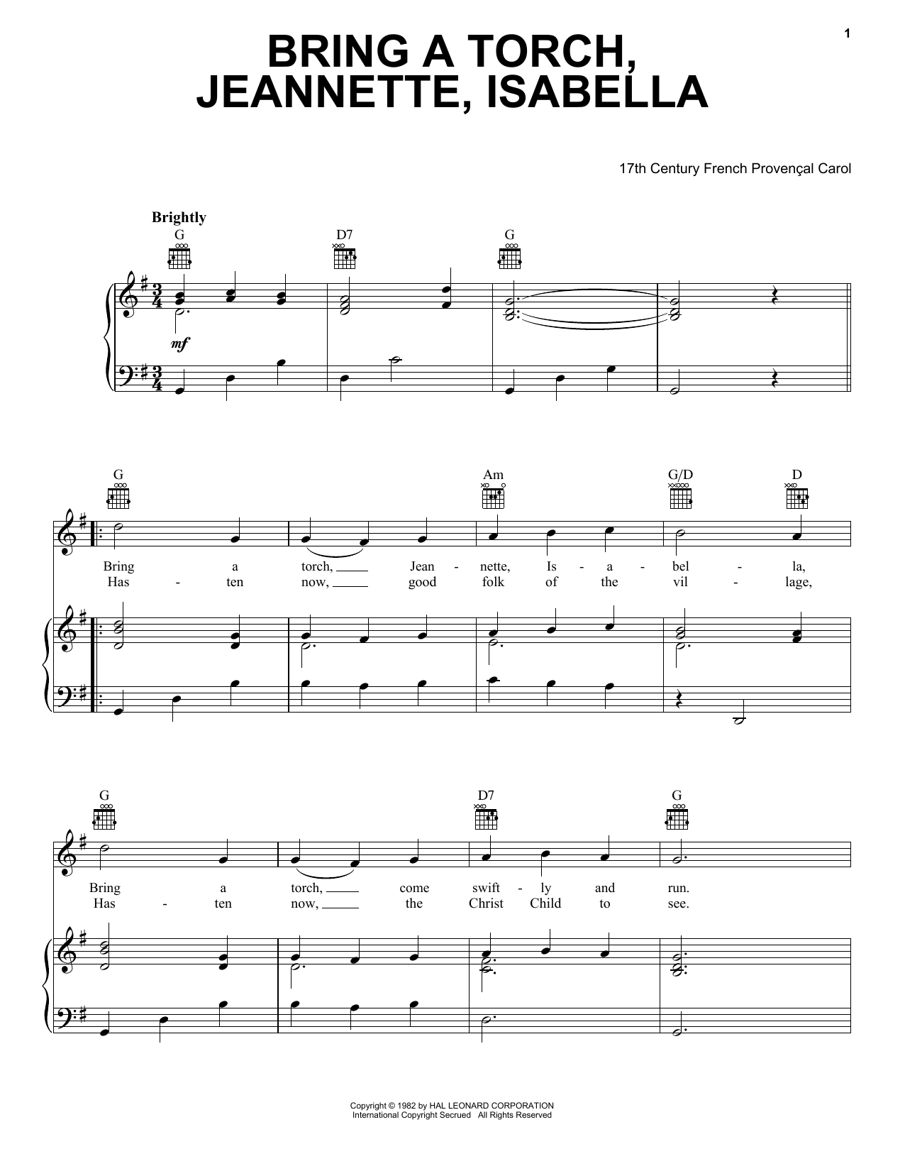 Bring A Torch, Jeannette Isabella (Piano, Vocal & Guitar (Right-Hand Melody))