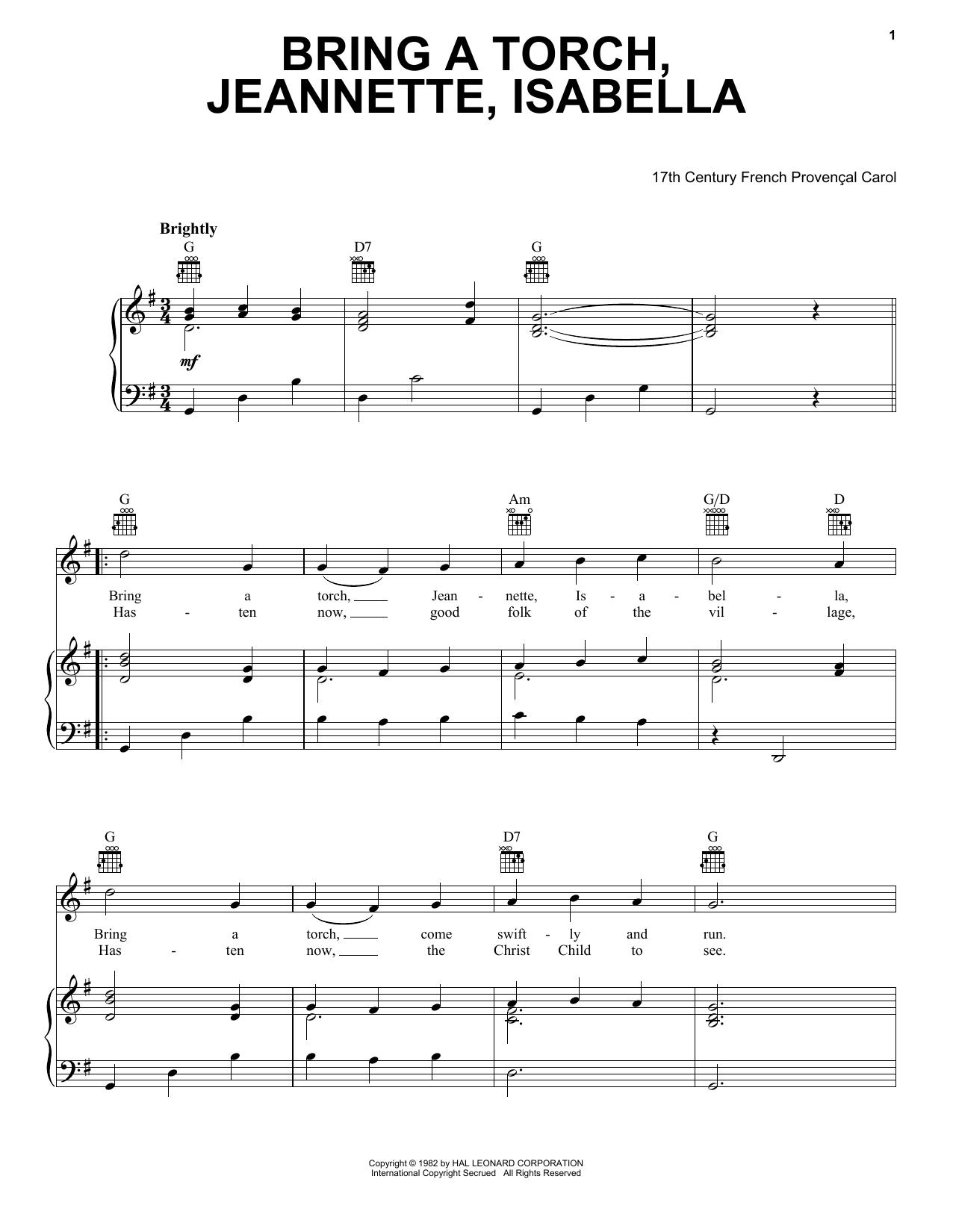 Partition piano Bring A Torch, Jeannette Isabella de Christmas Carol - Piano Voix Guitare (Mélodie Main Droite)