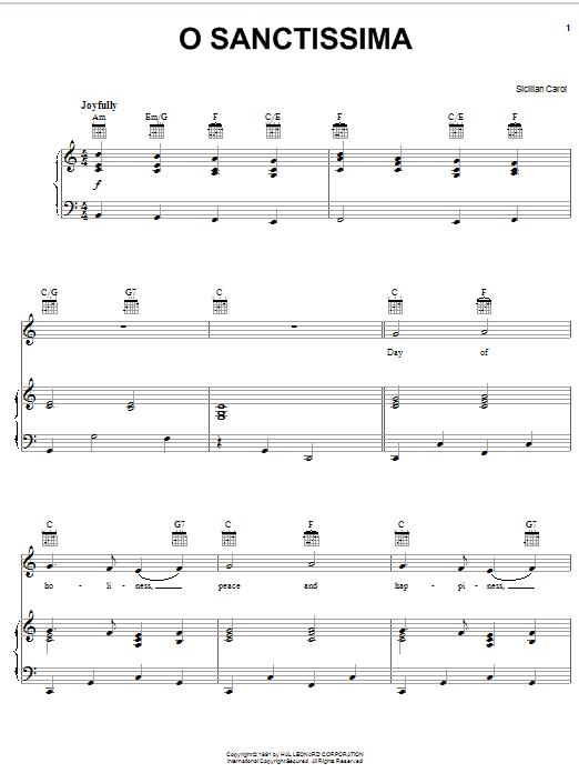 Partition piano O Sanctissima de Christmas Carol - Piano Voix Guitare (Mélodie Main Droite)