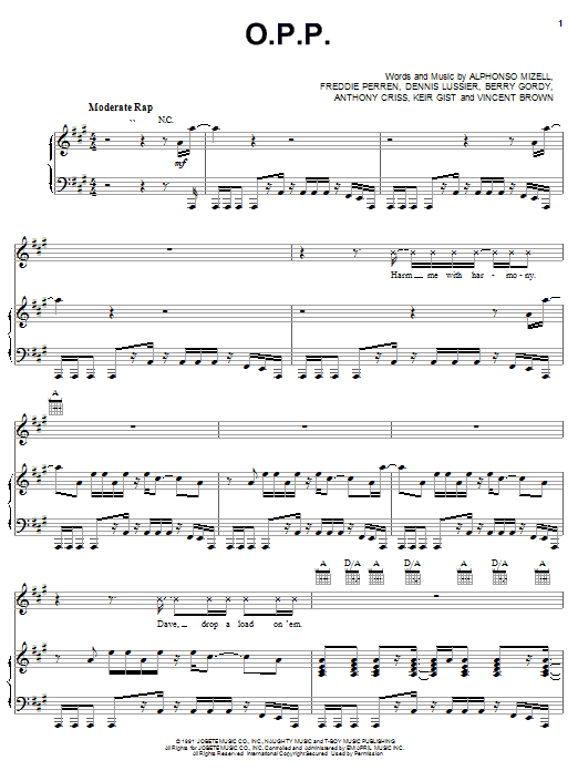 Partition piano O.P.P. de Naughty By Nature - Piano Voix Guitare (Mélodie Main Droite)