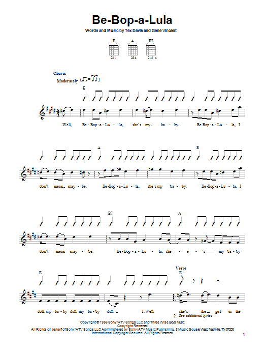 Tablature guitare Be-Bop-A-Lula de Gene Vincent - Tablature guitare facile