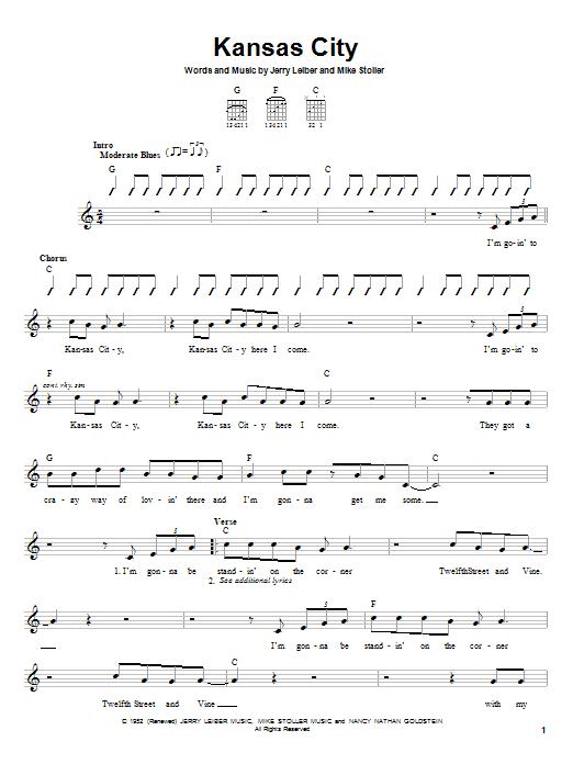 Tablature guitare Kansas City de Wilbert Harrison - Tablature guitare facile