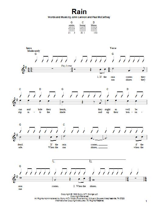 Tablature guitare Rain de The Beatles - Autre