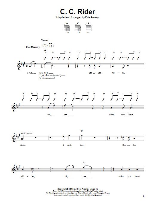 C.C. Rider (Easy Guitar)