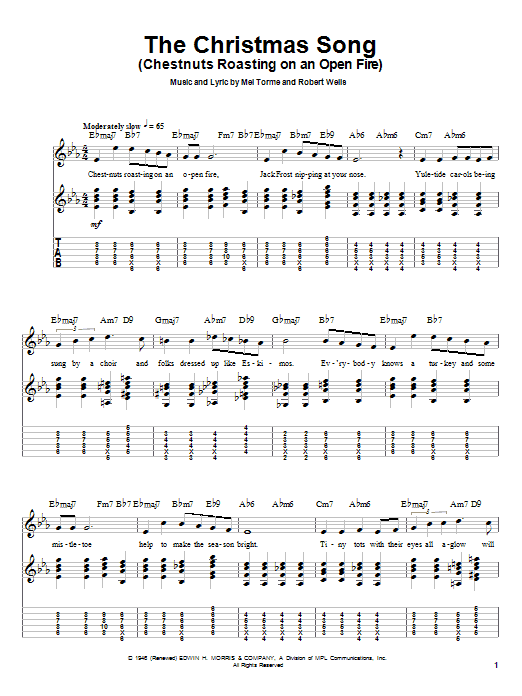 Tablature guitare The Christmas Song (Chestnuts Roasting On An Open Fire) de Nat King Cole - Autre