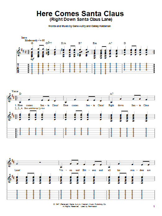 Tablature guitare Here Comes Santa Claus (Right Down Santa Claus Lane) de Carpenters - Playback Guitare