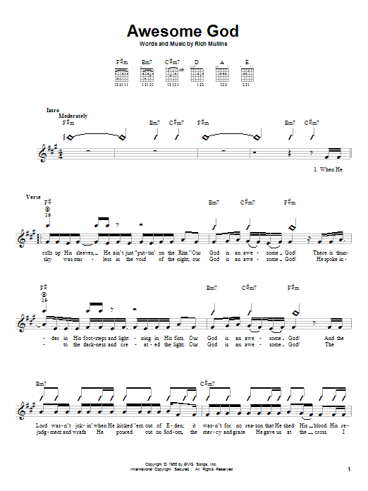Tablature guitare Awesome God de Rich Mullins - Autre