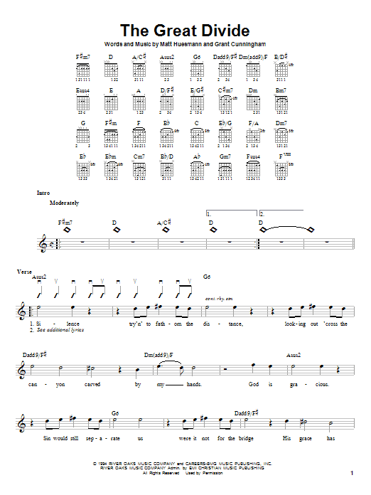 Tablature guitare The Great Divide de Point Of Grace - Autre