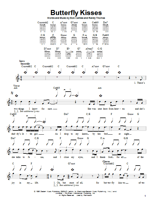 Tablature guitare Butterfly Kisses de Bob Carlisle - Autre