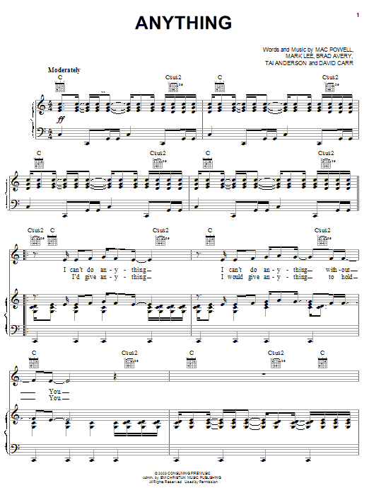 Anything (Piano, Vocal & Guitar (Right-Hand Melody))