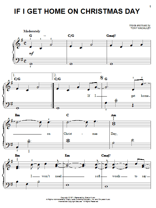 If I Get Home On Christmas Day (Easy Piano)