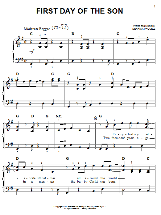 First Day Of The Son Sheet Music