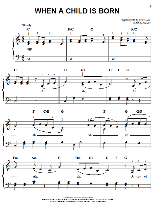 When A Child Is Born Sheet Music