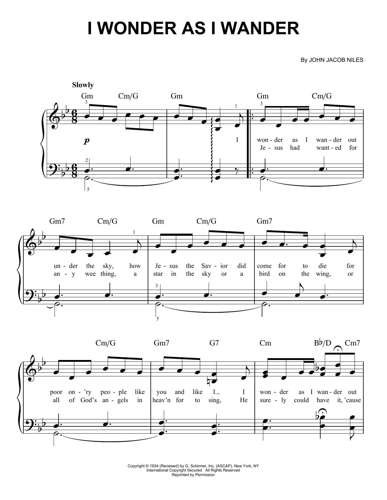 Partition piano I Wonder As I Wander de John Jacob Niles - Piano Facile