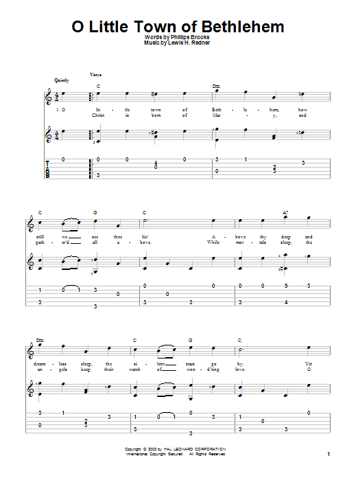 Tablature guitare O Little Town Of Bethlehem de Phillips Brooks - Tablature Guitare